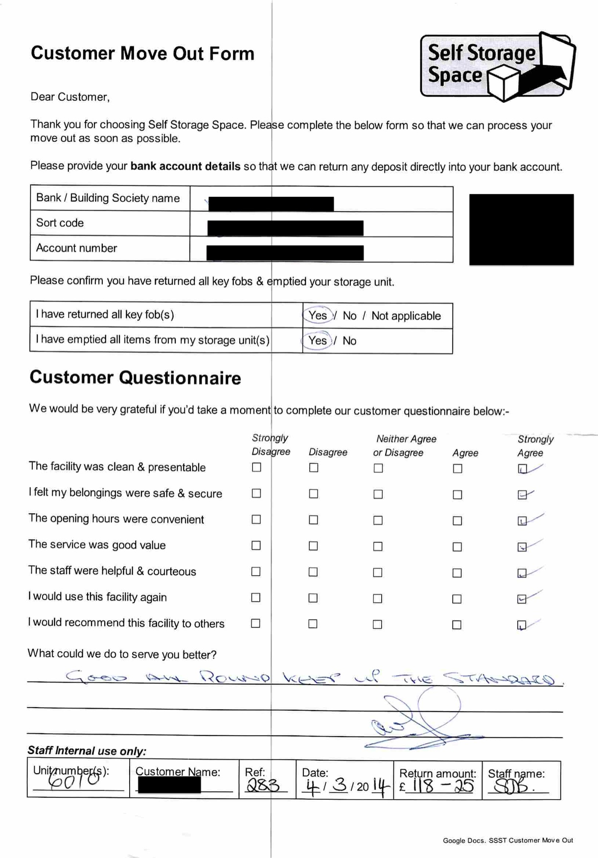 Customer Questionnaire at Self Storage Space Lewes