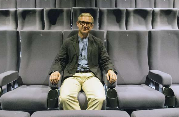 Martin Freeman sitting in The Depot Cinema in Lewes, East Sussex 25th May 2017