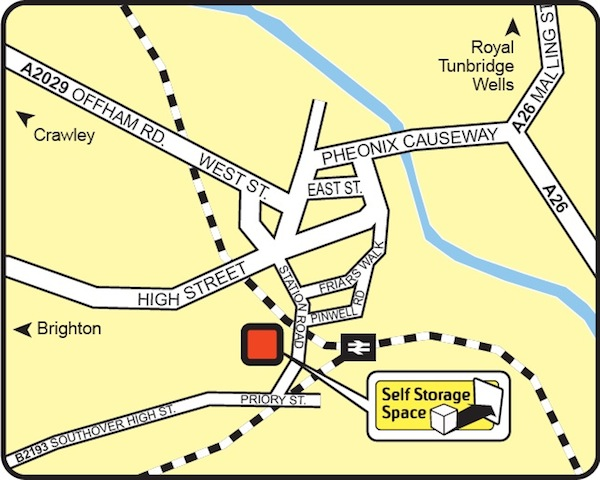 Map of Self Storage Space in Lewes, BN7 2YY